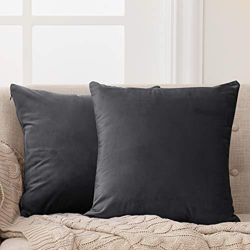 Deconovo Fundas para Cojines de Almohada del Sofá Cubierta Suave Decorativa Protector para Hogar 2 Piezas 50 x 50 cm Gris Oscuro