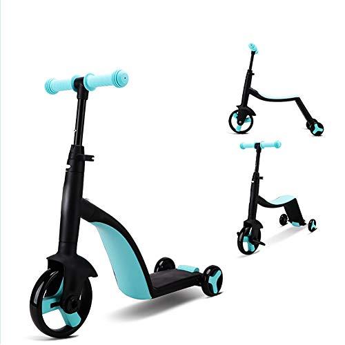 DFSSD DREI-Rad-Scooter für Kinder Kinder Boys & Girls, 3 in 1 Jungen und Mädchen Roller mit Einstellbarer Höhe/Faltbare Sitz für Kind Alter 1+,Blau