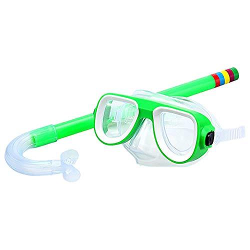 QWERT 2 Piezas Easybreath Gafas de Bucear Niños Máscara de Buceo Máscara Snorkel Tubo Respirador Anti-Niebla Gafas de Natación Set de Buceo 3-10 Años de Edad,Verde