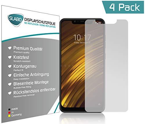 Slabo 4 x Pellicola Protettiva per Display per Xiaomi Pocophone F1 | Poco F1 (pellicole rimpicciolite, a Causa della convessità del Display) No Reflexion Opaca - Senza riflesso Made in Germany