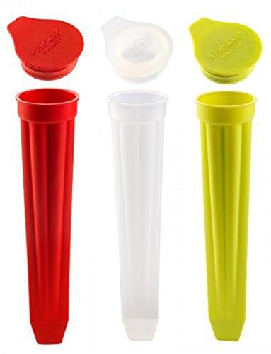 WOWOOO - Stampi in silicone per ghiaccioli Calippo, set di 3 pezzi, prodotto in Italia da Silkomart, colore: Rosso/Bianco/Verde