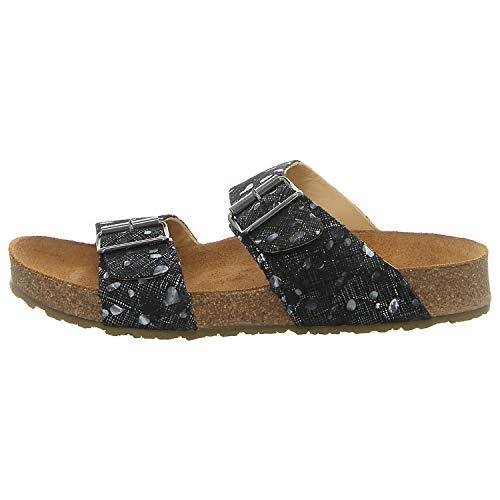 HAFLINGER Bio Andrea 819016-0 Damen Leder Pantoletten Clogs, Schuhgröße:42 EU, Farbe:Schwarz