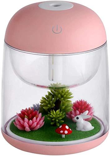AEKAN Humidificador micro paisaje con luz LED cambiante, modo de niebla ajustable, apagado automático sin agua, para dormitorio, oficina, coche (rosa)