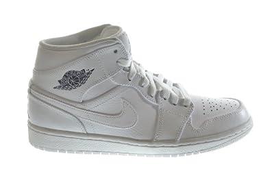 Air Jordan 1 Mid Men's Basketball Shoes White/Cool Grey-White 554724-120