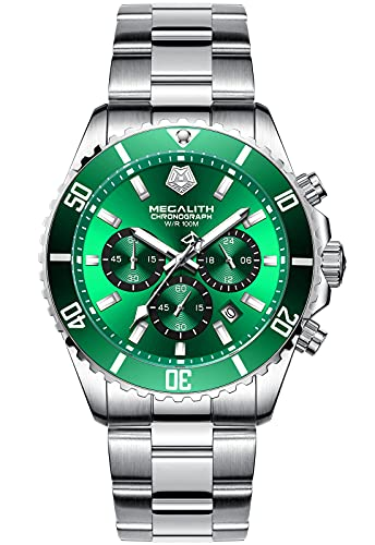 MEGALITH Reloj Hombre Cronografo Acero Inoxidable Sólido Impermeable 10 ATM Reloj de Pulsera Plata Analógico Relojes Luminoso Calendario Regalo Elegante - Plata Verde