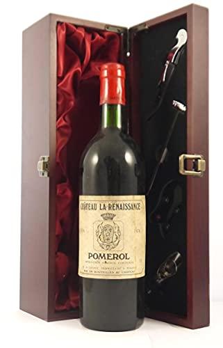 Chateau La Renaissance 1976 Pomerol en una caja de regalo forrada de seda con cuatro accesorios de vino, 1 x 750ml