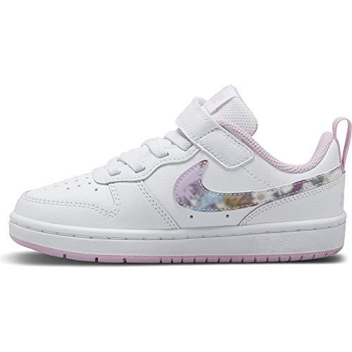 Nike Court Borough Low 2 SE (PSV), Sneaker Boys, White/Multi-Color-Light Arctic Pink, 32 EU