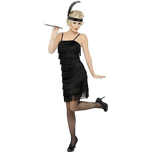NET TOYS Costume de Danseuse Cancan Noir Taille M 40/42 Robe Charleston Robe de Charleston Femme de Gangster Robe années 20