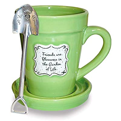 Friends are Blossoms in the Garden of Life Green Flower Pot 14 Ounce Mug with Saucer Lid