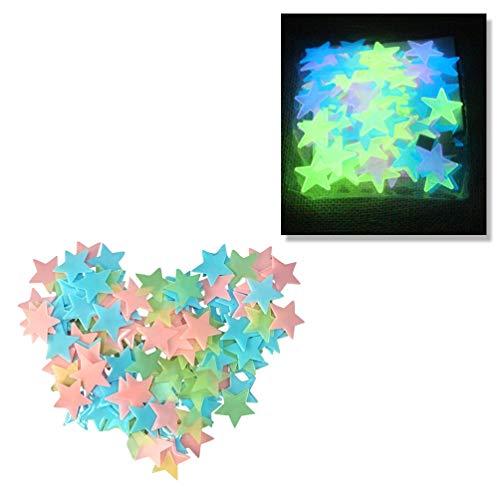 BESPORTBLE 50 piezas pegatinas fluorescentes estrellas brillan en la oscuridad pegatinas de pared pegatinas luminosas decoración para sala de estar niños dormitorio
