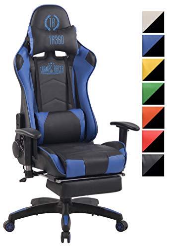 CLP Chefsessel Turbo XFM Kunstleder mit Massagefunktion l Höhenverstellbarer Bürostuhl mit ausziehbarer Fußablage und beheizbarem Sitzbereich schwarz/blau