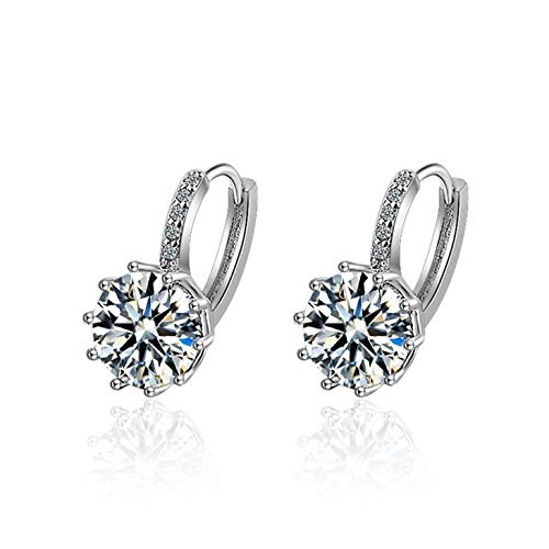 wiftms Women's Girls' Hoop Earrings 925 Sterling Silver Cute Cubic Zirconia Simple Stud Earrings Studs Hoop Fashion Stud Earrings