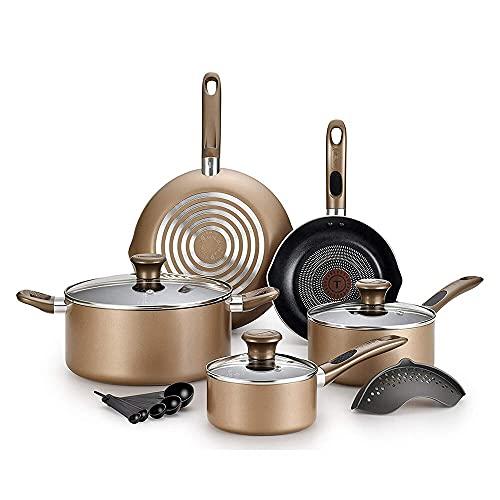 LIXUDECO Set de Pans T-Fal Excite Pro Glide Nonstick Thermo Spot Lavaplatos Safe Safe Utensilios de Cocina, Bronce