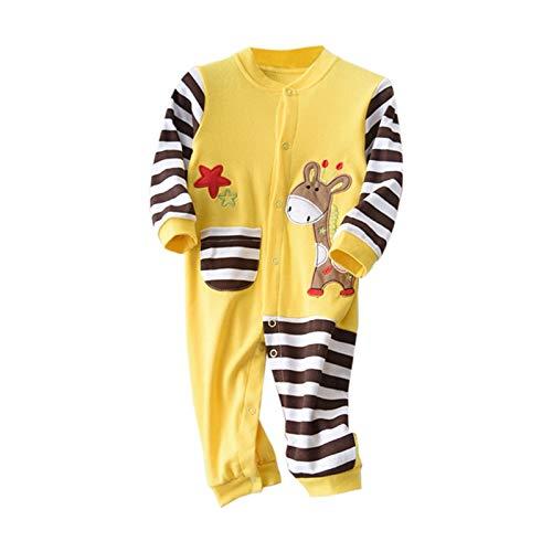 Gyratedream Jumpsuits Baby gestreepte karikatuur, het speelpak met lange mouwen drukt, schert bodysuits, 0-2Y Small A
