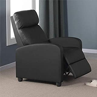 Topeakmart Wingback Single Recliner Chair Recliner Sofa Sofa Club Chair Home Theater Seating Black