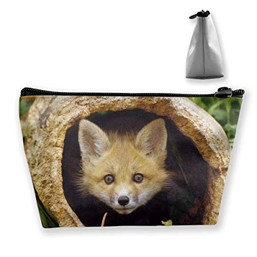 Trapezoid Makeup Pouch Storage Holder Cute Fox Womens Travel Case Cosmetic Makeup Pouch