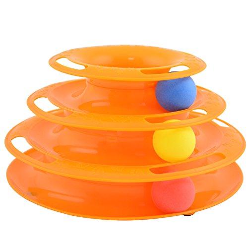 nean Katzen Spielzeug Kreisel mit Ball - dreistöckige interaktive Drehscheibe