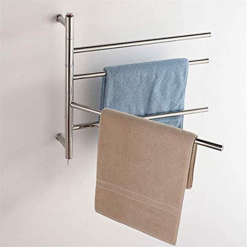 HXCD Rieles para Toallas con calefacción Calentador de Toallas, Calentador de Toallas y Rejilla de Secado Giratorio para el baño doméstico Rejilla para Secado de Toallas eléctrico de 51 W con 4 b