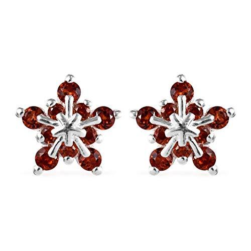TJC MONCHIC Garnet Snowflake Earrings in Sterling Silver for Women & Girls, 0.75 Ct January Birthday Gift