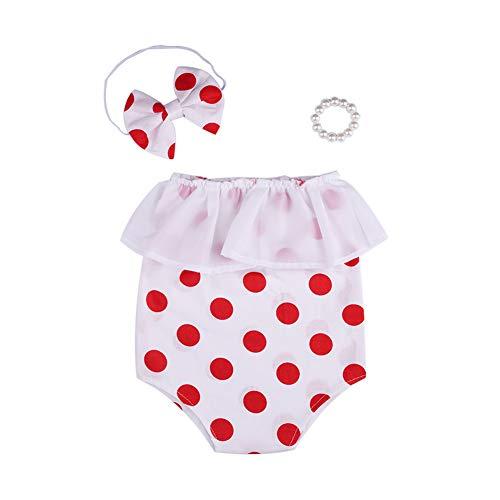 Asudaro Conjunto De Algodón De Punto para Bebé Recién Nacido con Diadema De Lazo y Conjunto De Pulsera De Perlas