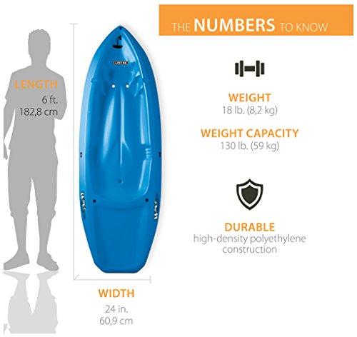 Lifetime Youth Wave Kayak (Paddle Included), Blue, 6' 9 Ergonomic Cockpit Design Enhances Balance and Motor Skills Molded finger handles on each side of the kayak Reverse chine for enhanced stability with swim-up step