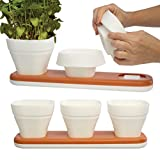 Infusion Living (6 Herb Pots and 2 Water Drainage Trays) Adjustable Size Silicone Garden Pots, Flower Pots For Indoor Garden Kit, Herb Planter Set