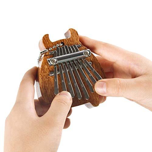 Xiaoplay Mini Pulgar Piano 8-Tono Dedo Kalimba niños Regalo de cumpleaños de Madera a Mano Colgante Musical Instrumentos de percusión,A