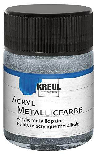 Kreul 77572 - Acryl Metallicfarbe, glamouröse Acrylfarbe mit Metalliceffekt auf Wasserbasis, cremig deckend, schnelltrocknend und wasserfest, 50 ml Glas, silber