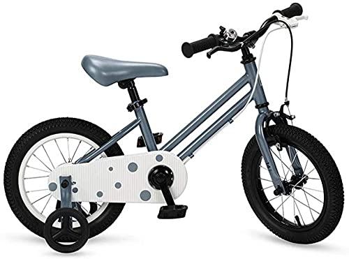 Bicicleta para niños con freno y ruedas de entrenamiento para 2-7 años niña niño 14 gris