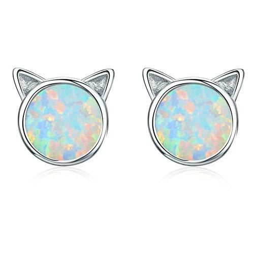 Chapado en oro 18K 925 Opal Pendientes del gato del gato lindo con los pendientes de piedra natural...