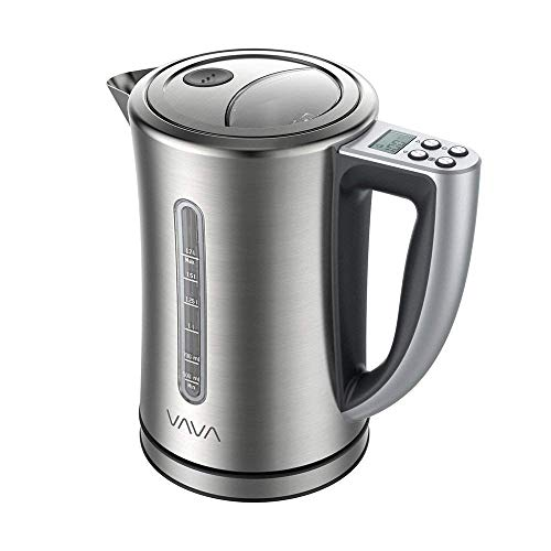 VAVA EB005 Electric Temperature Water Stainless Steel Cordless Tea Kettle with LCD Display (BPA-Free Build, Keep Warm Function, Strix Control, FDA Certified) 1.7-Liter