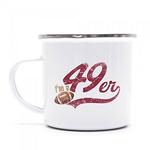 I\'m a 49er Emaille-Tasse | American Football | Super Bowl | San Francisco | Kaffeetasse | Metall-Becher © Shirt Happenz, Farbe:weiß mit Silberrand;Größe:onesize