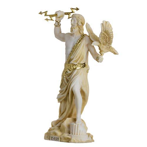 """Zeus Greek God Jupiter Thunder Statue Figurine Gold Alabaster 7.08"""""""