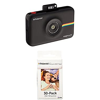 Polaroid Snap Touch Instant Print Digital Camera With LCD Display (Black) w/ Polaroid 2x3-Inch Premium ZINK Photo Paper (30 Pack)