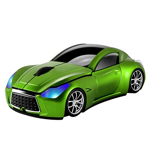 Usbkingdom Cool Sport Car Shape 2.4GHz Wireless Mouse Optical Cordless Mice with USB Receiver for PC Laptop Computer 1600DPI 3 Buttons Green