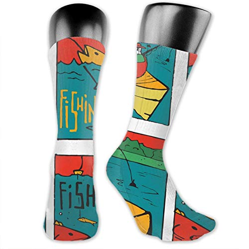 Compression High Socks,Comic Style Fishing Club Caricature Leisure Day In Lake People On Boat Marine,Women and Men For Running,Athletic,Hiking,Travel,Flight
