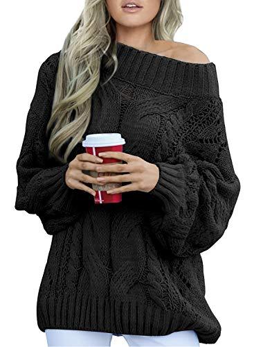 Aleumdr Strickpullover Damen Oversize Pullover Grobstrick Winterpullover Strickpulli Sweater lässig Outwear Casual elegant einfarbig S-XXL, Schwarz, Medium(EU38-EU40)