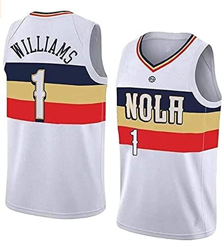 WEIZI Pelícanos # 1 Zion-Williamson Basketball Jersey - Ropa De Entrenamiento De Malla Bordada Retro De Malla - Unisex Sin Mangas Camisetas,White.White a,S