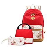 Sunborls Canvas Middle School Backpack Unisex Striped Lunch Bag with USB Charging Port (3 in 1) (red floral)