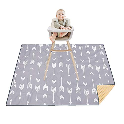 Splat Mat for Under High Chair/Arts/Crafts, Washable Spill Mat Water-Resistant Anti-Slip Floor Splash Mat, Portable Play Mat and Table Cloth 51' (Grey)