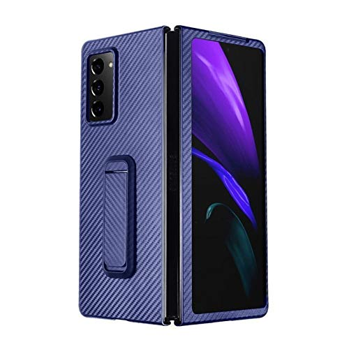 XXG Fit for Samsung Galaxy Z Fold 2 5G Ultra Thin Carbon Holder Stand Fit for Samsung Cover Phone Case 5G W21 Mobile Phone Battery Back Cover (Color : Blue)