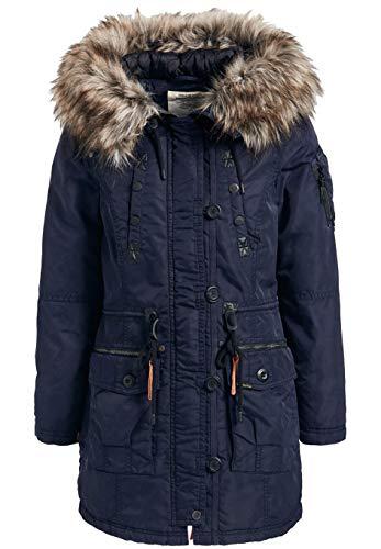 khujo Halle Damen Jacke Winterjacke Parka Nylon Coat (M, Navy dunkelblau)