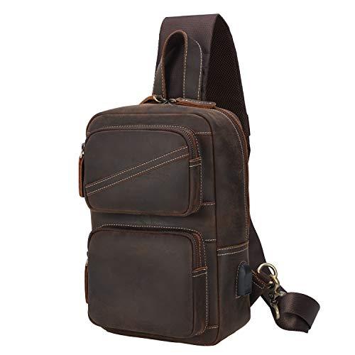 TIDING, borsa a tracolla da uomo, in pelle, borsa a tracolla, zaino da donna, borsa a tracolla da uomo, per viaggi, lavoro, sport, daykk, con grande capacità