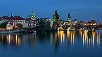 プラハチェコ共和国橋川イブニングマリーナ都市大人のパズル子供1000ピース木製パズルゲームギフト家の装飾特別な旅行のお土産