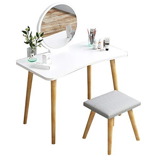 KYSZD-Uhren Mädchen Kommode, weiße Konsole - mit Zwei Schubladen & Spiegel, Moderne Kommode Abteil Schlafzimmermöbel