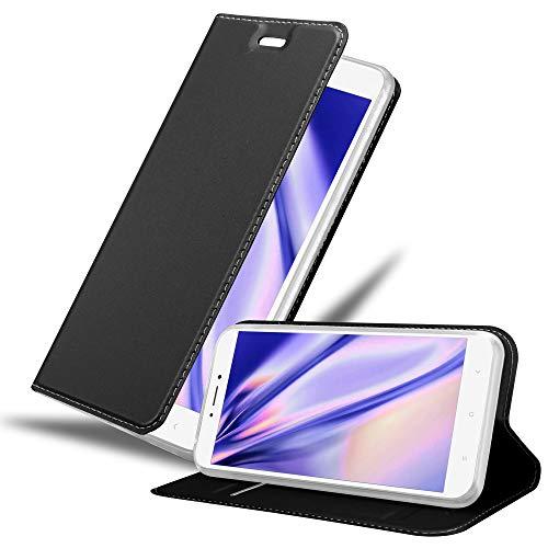 Cadorabo Hülle für Xiaomi Mi Max 2 in Classy SCHWARZ - Handyhülle mit Magnetverschluss, Standfunktion & Kartenfach - Hülle Cover Schutzhülle Etui Tasche Book Klapp Style