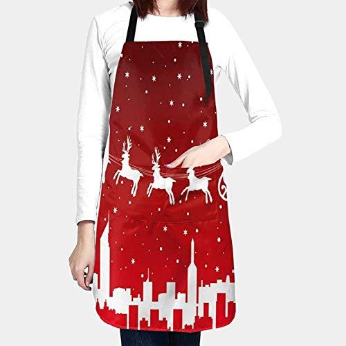 Lindo delantal de corderos de oveja con 2 bolsillos Cocina divertida Impermeable 33 Delantal de babero para mujeres Hombres Chef Cocina, barbacoa, horneado, pintura-Navidad Santa conduciendo renos