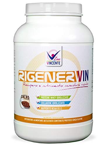 RigenerWin - Recupero e Nutrimento Muscolare Rapido - Integratore alimentare a base di proteine Whey idrolizzate senza glutine, Amminoacidi ramificati (BCAA) 8:1:1 - Collagene idrolizzato - 1000 gr