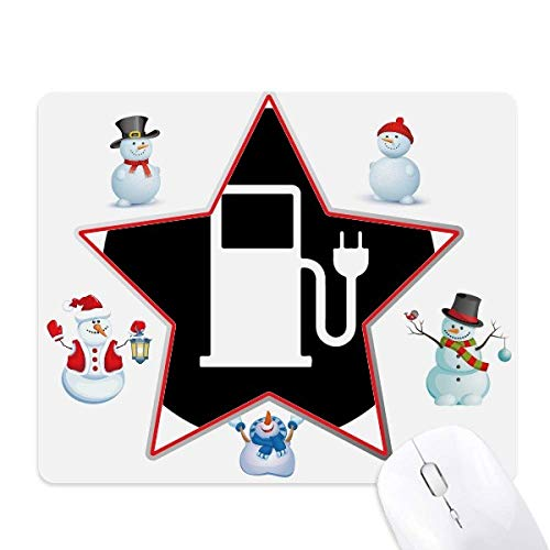 Charing Station Energy Vehicles Protect Environment Christmas Snowman Family Star - Alfombrilla para...