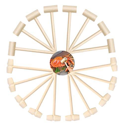ZXT 16 Stück Mini Holzhämmer,Klein Hummer Schlägel Meeresfrüchte Werkzeug Mini Holzhammer,Kinder Spielen Lernen Hammer,Schalentier Cracker Schlagen Hammer Spielzeug